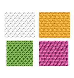 set of 3d geometric seamless pattern vector image