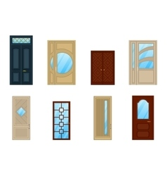 Set of doors with glass or windows design vector image vector image