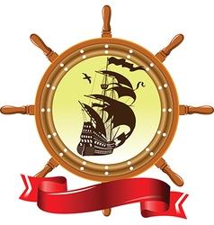 Ship and wheel vector image vector image