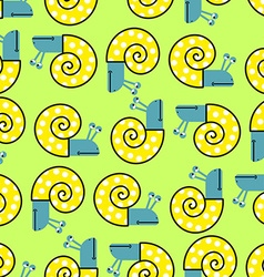Snail seamless pattern background with clam shells vector image