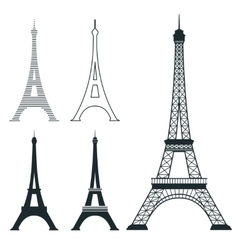 Different eiffel tower landmark set vector image vector image