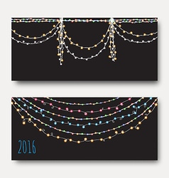 Greeting card with bright brilliant garlands vector image vector image