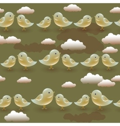 seamless pattern with cartoon olive birds vector image vector image