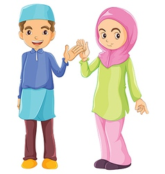 A male and a female Muslim vector image