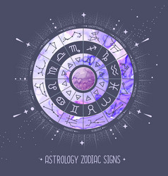 astrology wheel with zodiac signs vector image