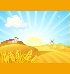 autumn farm sunrise vector image