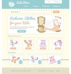 Baby on line store web template vector