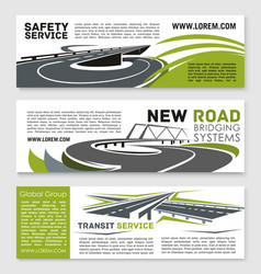 Banners of safety road construction service vector