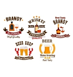 Bar icons set Beer whiskey brandy alcohol icons vector
