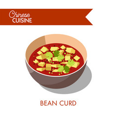Bean curd in bowl isolated on white soup vector