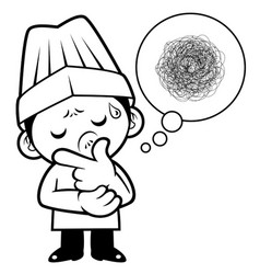 black and white a worried cook mascot that vector image