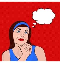 Brunette girl dreaming pop art vector image