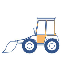 bulldozer flat icon in color sections silhouette vector image