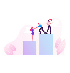 business people climbing up financial graph and vector image