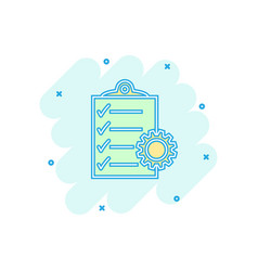 Cartoon document icon in comic style project vector