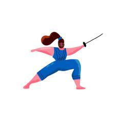 cartoon hand drawn cute plus size swordswoman vector image