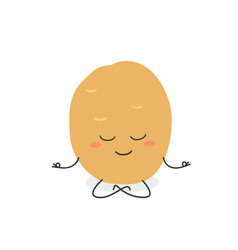 cartoon potato meditation vector image