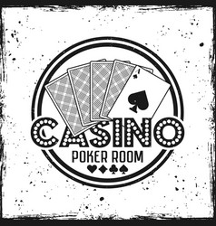 Casino round badge with playing cards vector