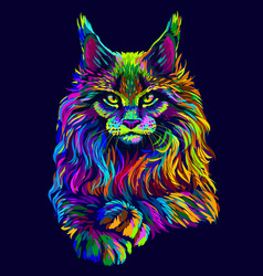cat abstract artistic neon-colored portrait vector image