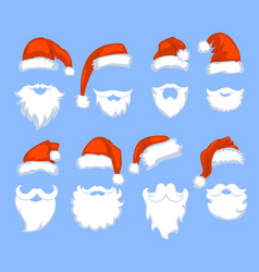 Christmas santa claus red hats with white vector