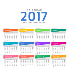 Clean 2017 calendar design template vector