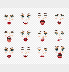 comic emotions women facial expressions gestures vector image