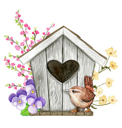 cute watercolor birdhouse with heart shaped hole vector image