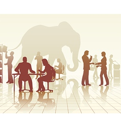 Elephant in the office vector image