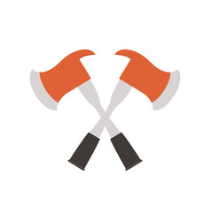 Fire axes crossed flat style icon vector