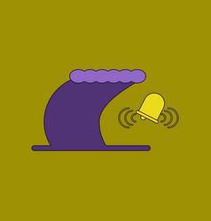 Flat icon stylish background tsunami alarming bell vector