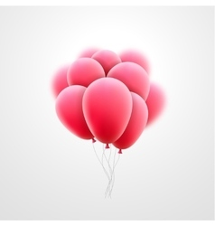 Flying realistic pink glossy balloons vector