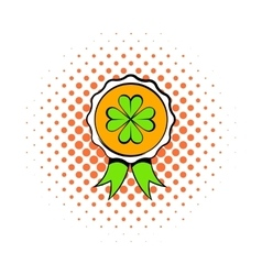 Four leaves clover badge icon comics style vector