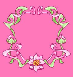 frame with lotus flowers art nouveau vintage vector image