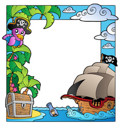 frame with sea and pirate theme 1 vector image