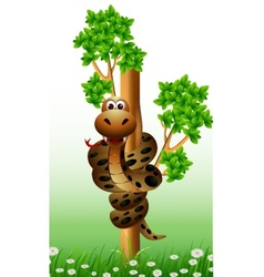 funny snake on the tree vector image