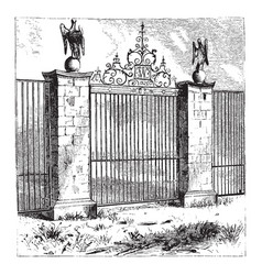Gate walls vintage engraving vector