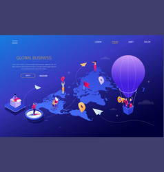 Global business - modern colorful isometric web vector