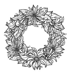 Graphic star anise wreath vector