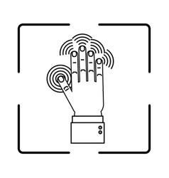 hand biometric identification vector image