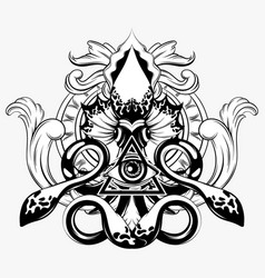 hand drawn squid isolated vector image