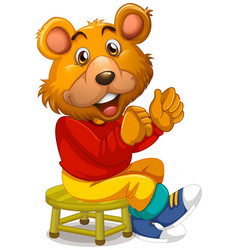 Happy bear sitting on stool vector