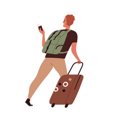 happy person traveling with luggage tourist vector image