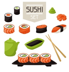 Icon set of various sushi vector