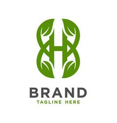 initial leaf logo design h vector image