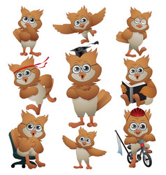 Intelligent owl cartoon collection vector