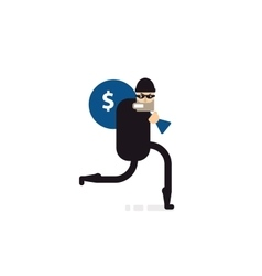 Isolated thief with bag of money vector