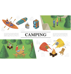 isometric summer outdoor recreation concept vector image