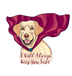 Labeador a super dog wear heroic red cape vector