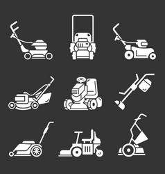 Lawnmower icon set simple style vector