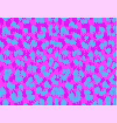 leopard vaporwave violet pixel art style stains vector image